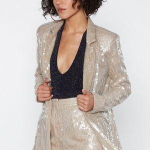 BNWT Nasty Gal Pearl Sequin Blazer